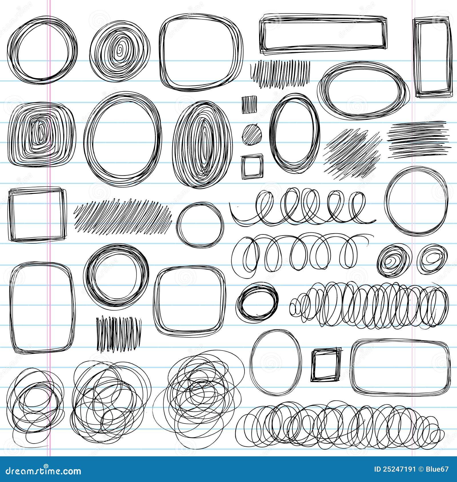Vector illustration design elements on lined sketchbook paper
