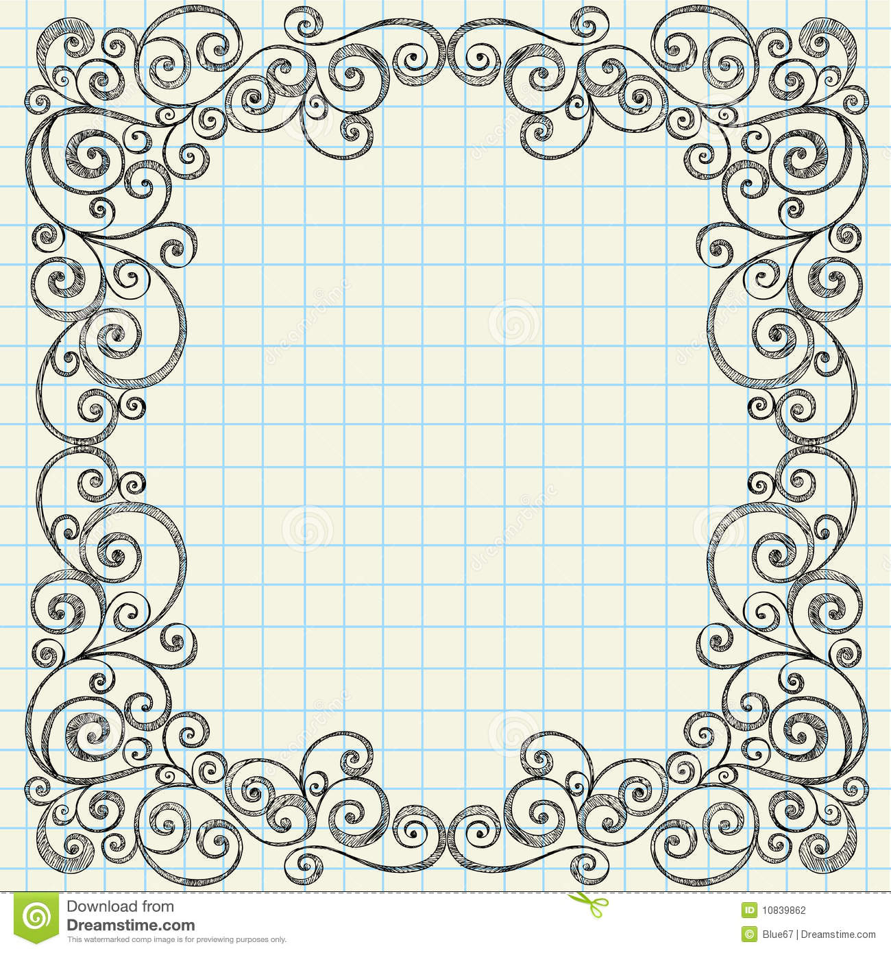 Sketchy Doodles Border On Notebook Paper Stock Photography - Image ...