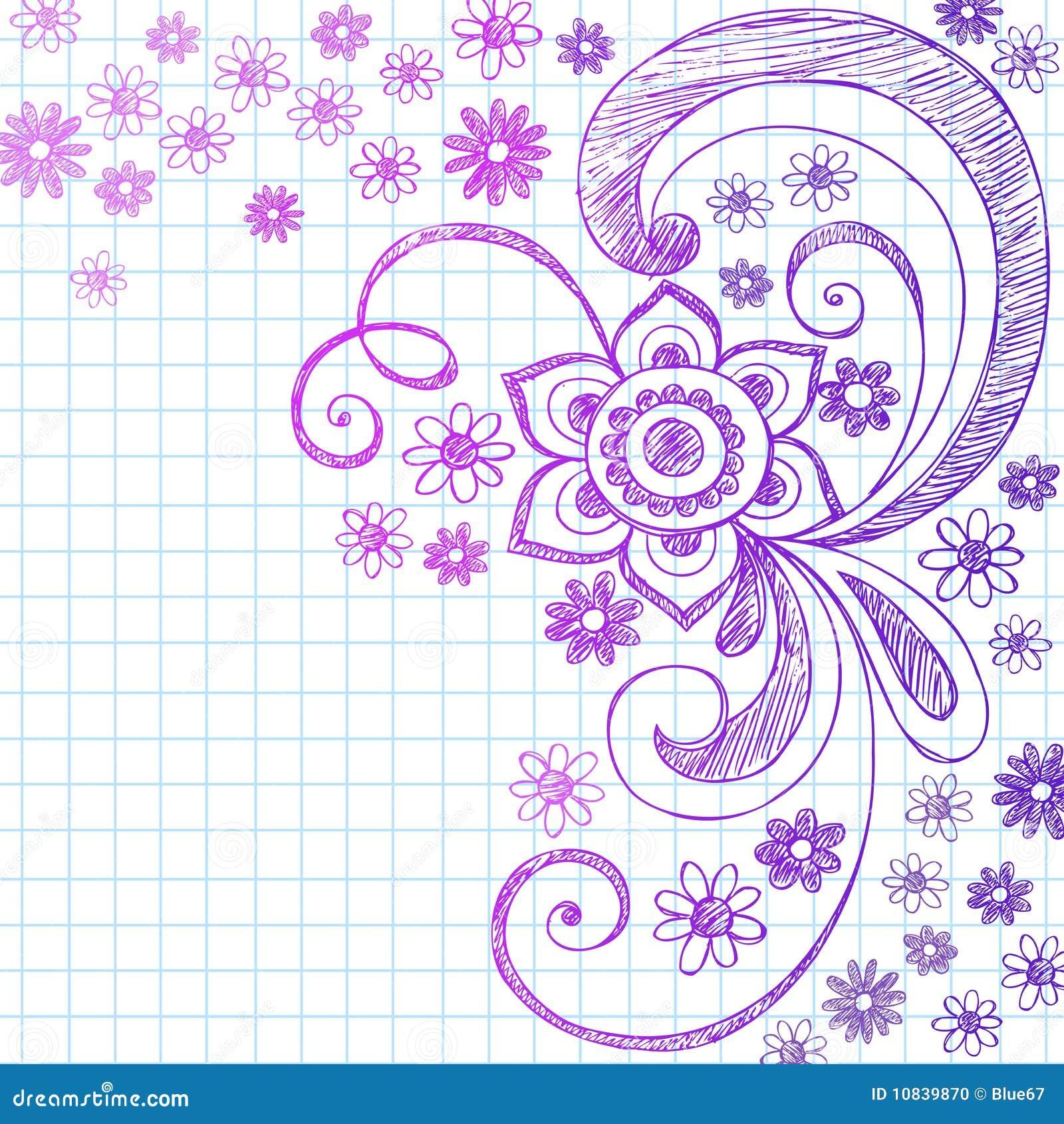 sketchy flower doodles on notebook paper vector stock