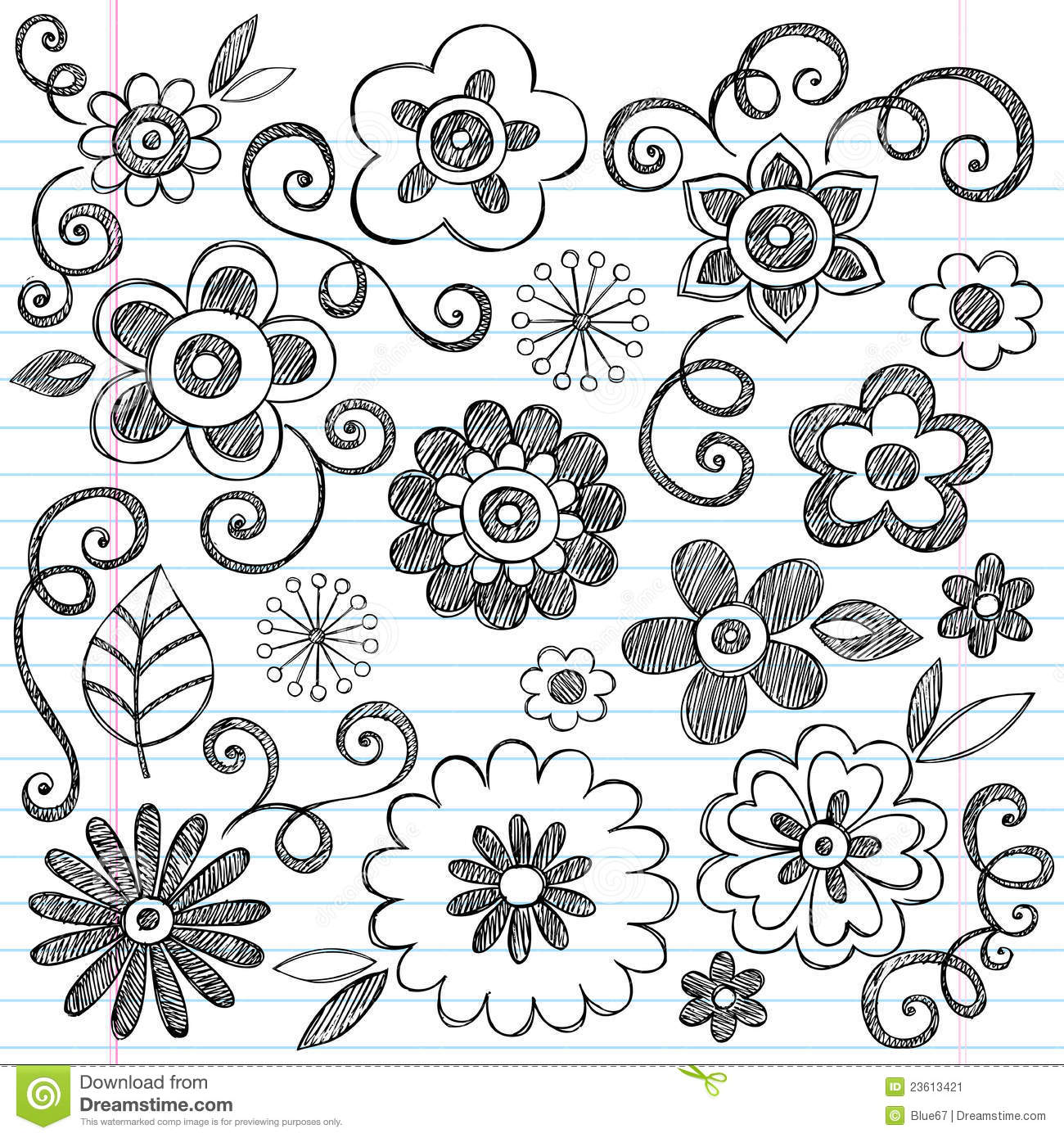 Sketchy Flowers Notebook Doodles Vector Set Stock Image