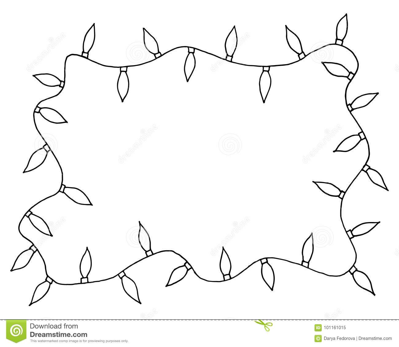 sketchy frames illustration hand drawn festive christmas lights