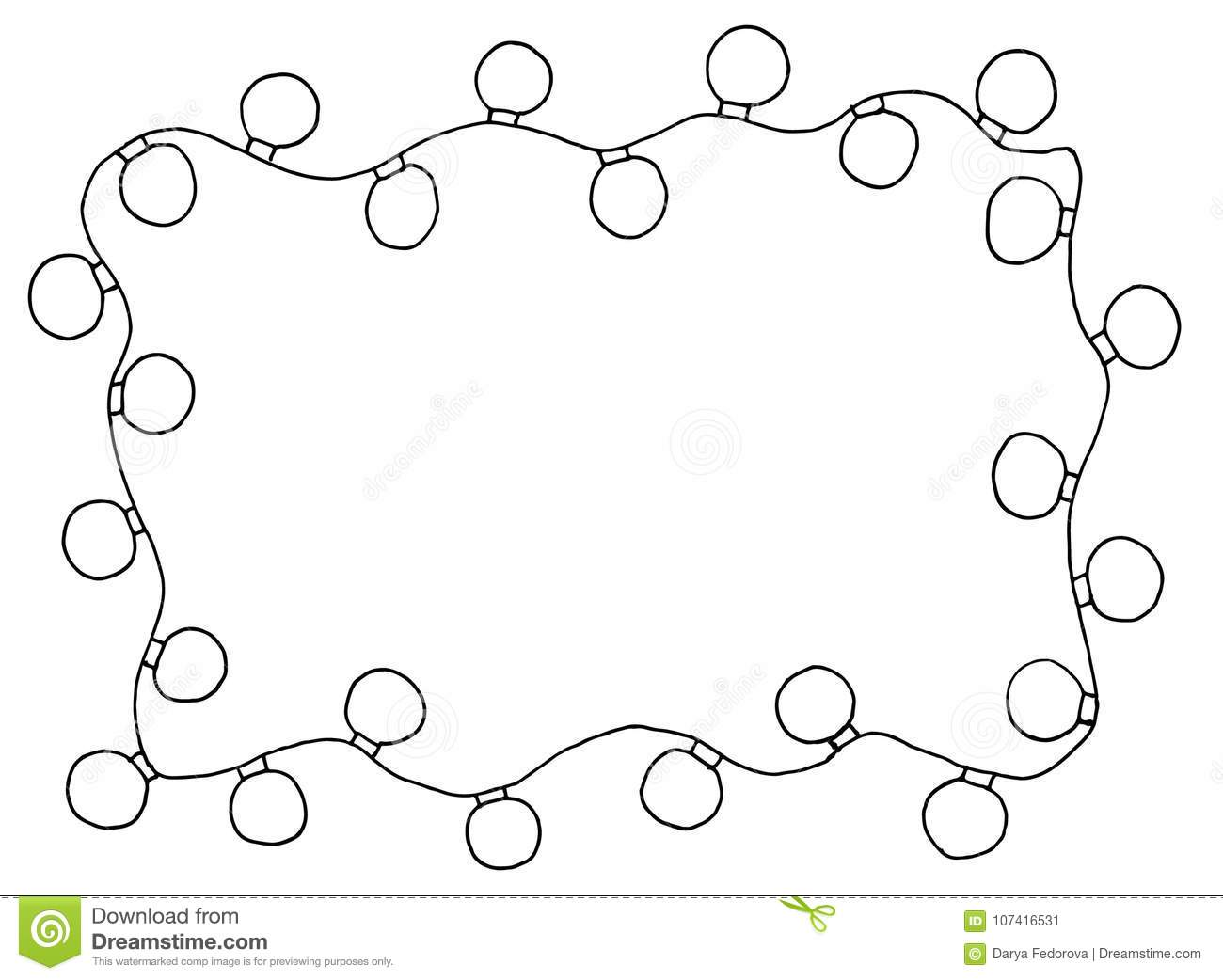 sketchy frames illustration hand drawn festive christmas lights with place for your text in the center