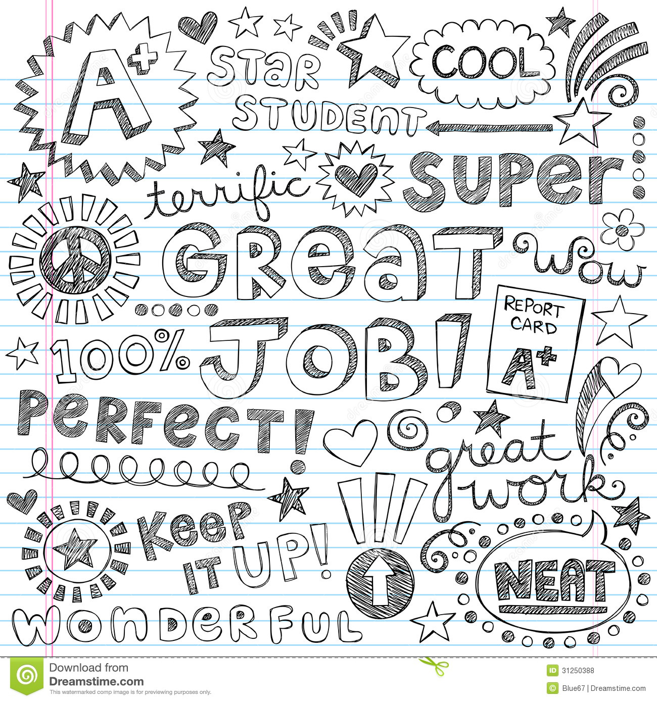 SKETCHY Good Grades Elements Des1 Stock Vector ...