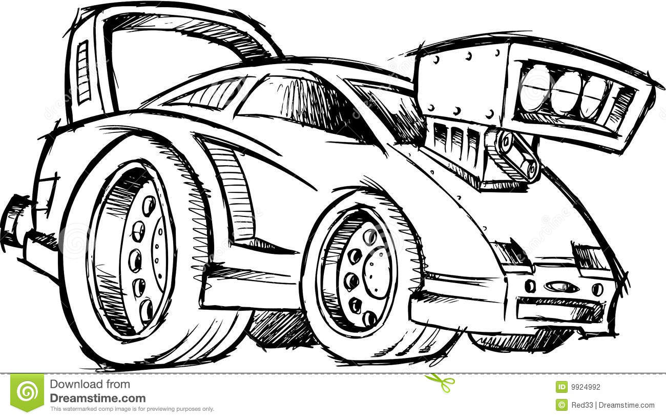 sketchy hot-rod race-car vector stock photography