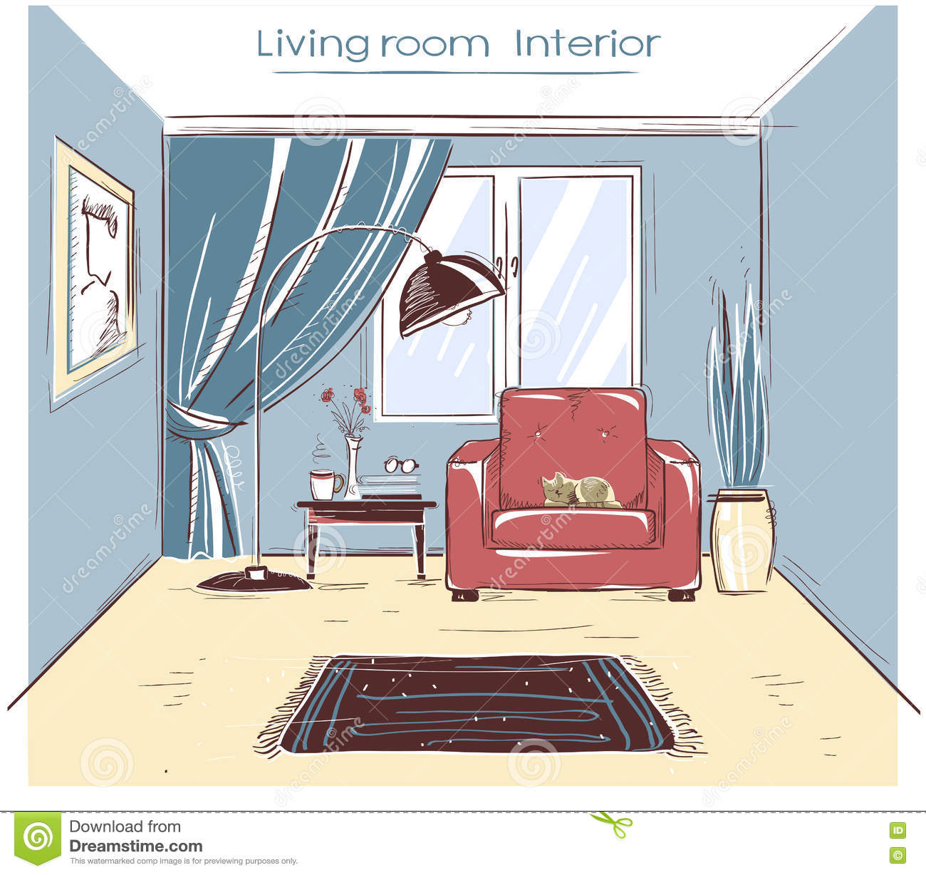 Sketchy Color Illustration Of Office Interior Room