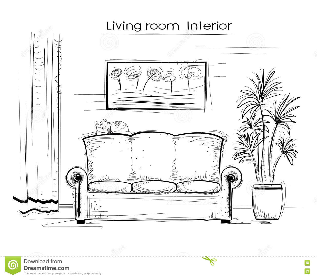 Sketchy Interior Illustration Of Living Room. Vector Hand