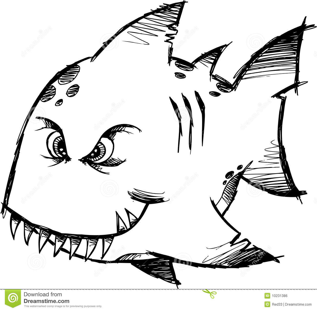 Sketchy mean fish vector royalty free stock image image for What does it mean to dream about fish