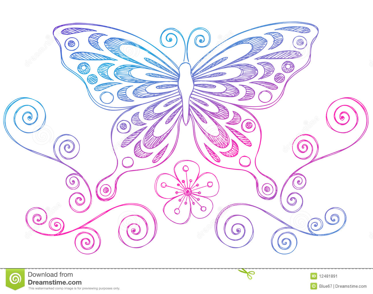 Sketchy notebook doodles butterfly and swirls stock vector for Decoraciones para hojas