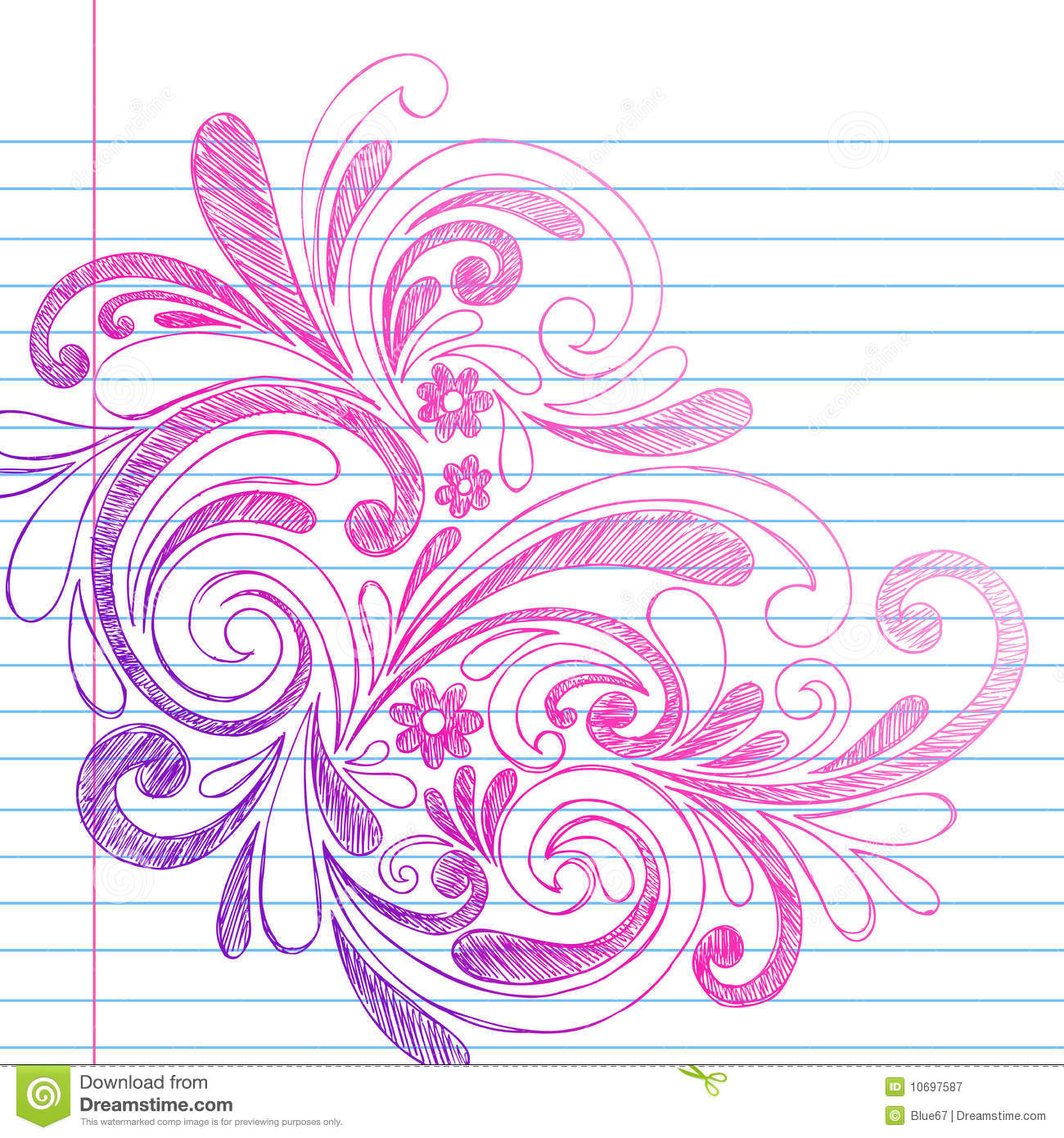 Sketchy Notebook Doodles On Lined Paper Vector Royalty
