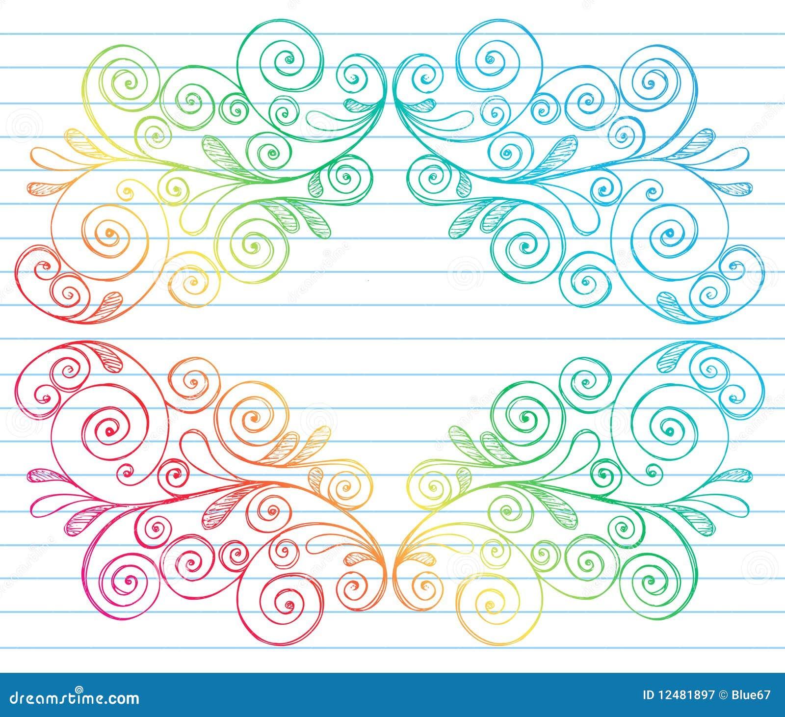Sketchy Notebook Doodles Swirls Vines Border Stock Vector ...