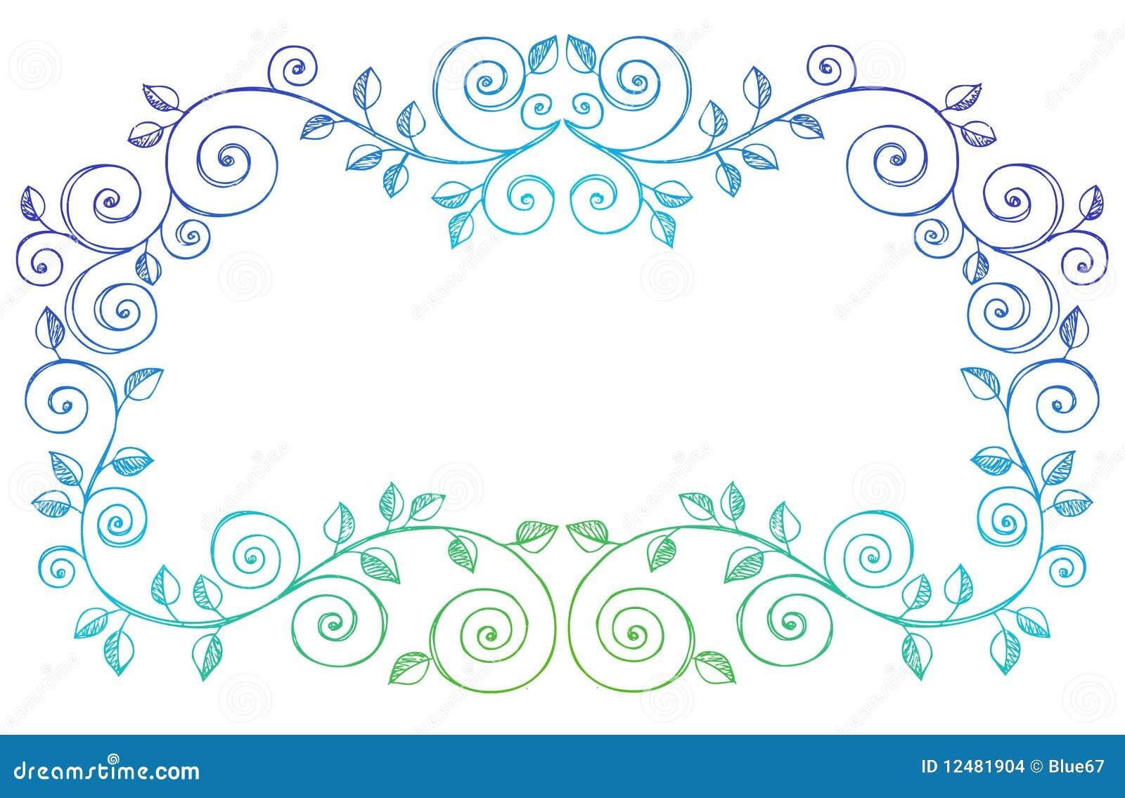 Sketchy Notebook Doodles Swirls Vines Border Stock Images - Image ...