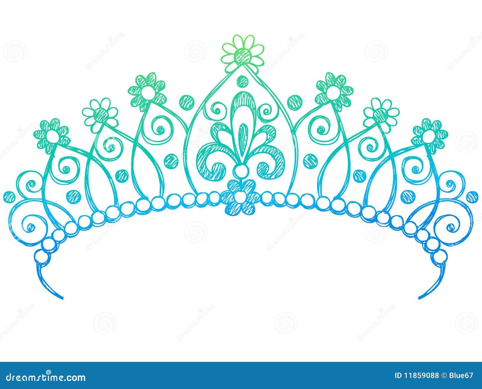 Sketchy Princess Tiara Crown Notebook Doodles Stock Vector