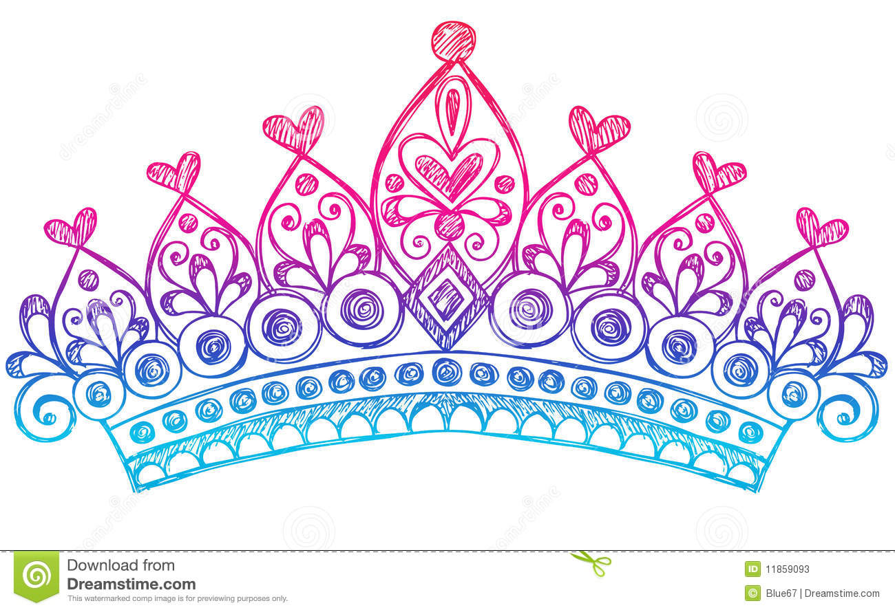 Vector Illustration of Hand-Drawn Sketchy Princess / Queen Tiara Crown ...