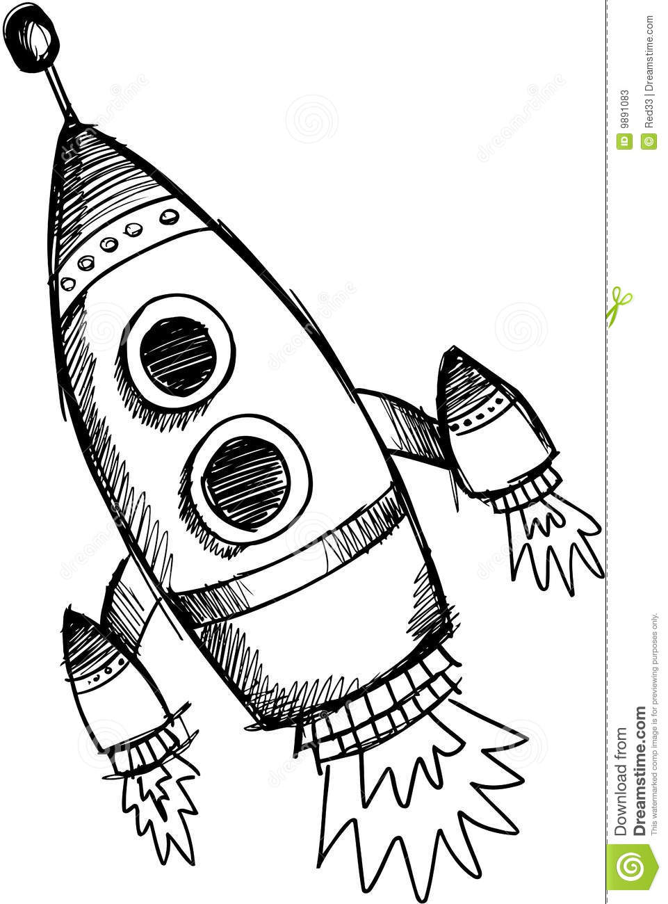 how to draw a 3d rocket