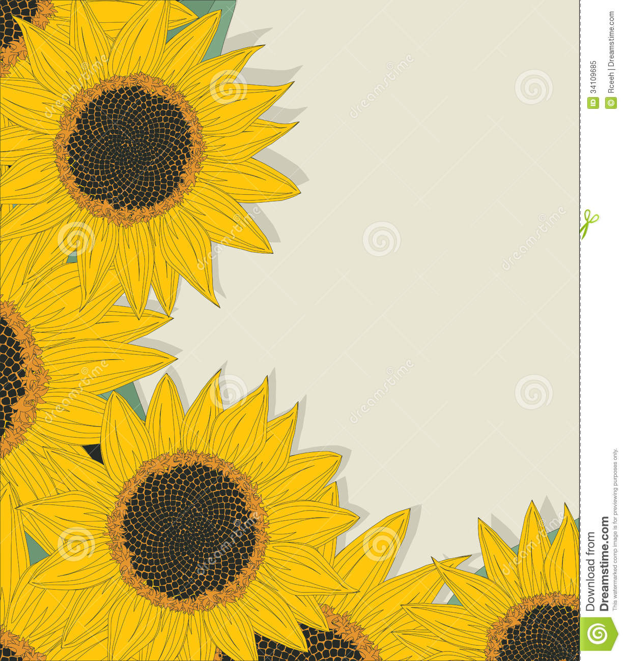 Sketchy Sunflowers Card Royalty Free Stock Photo - Image ... Sunflower Vector Black And White