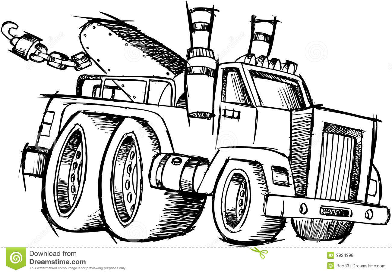 Sketchy Tow Truck Vector Stock Vector Illustration Of