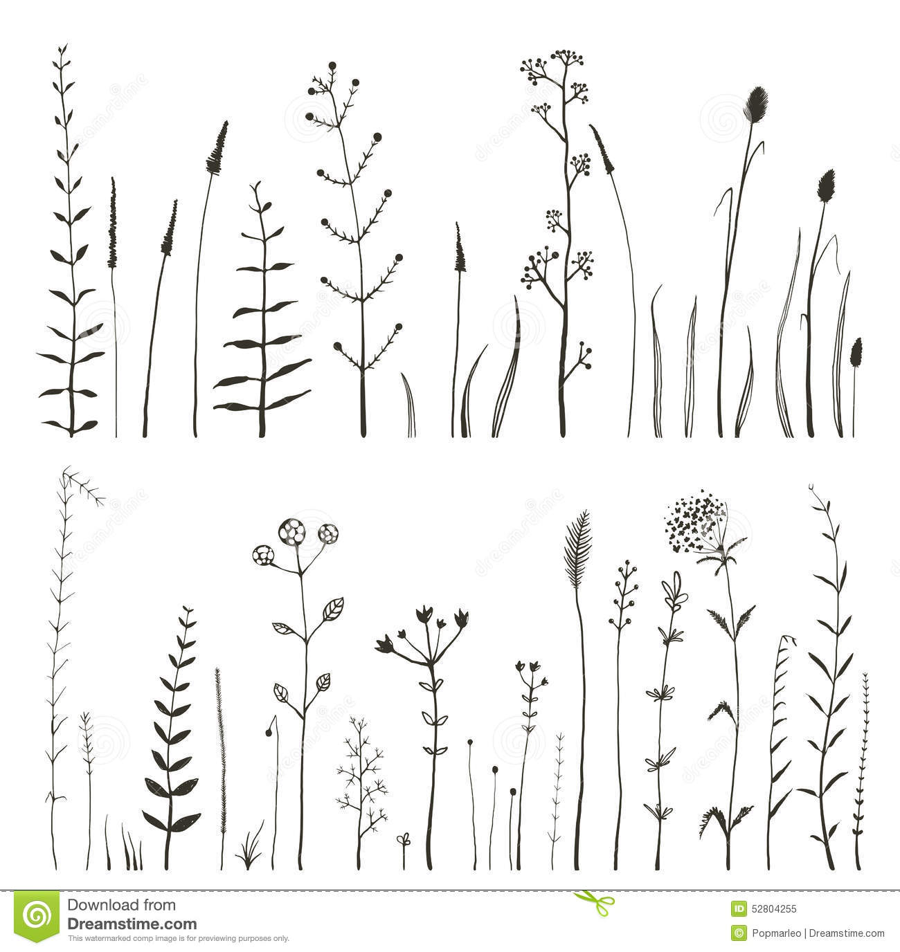 Line Art Journal : Sketchy wild field flowers and grass on white stock vector