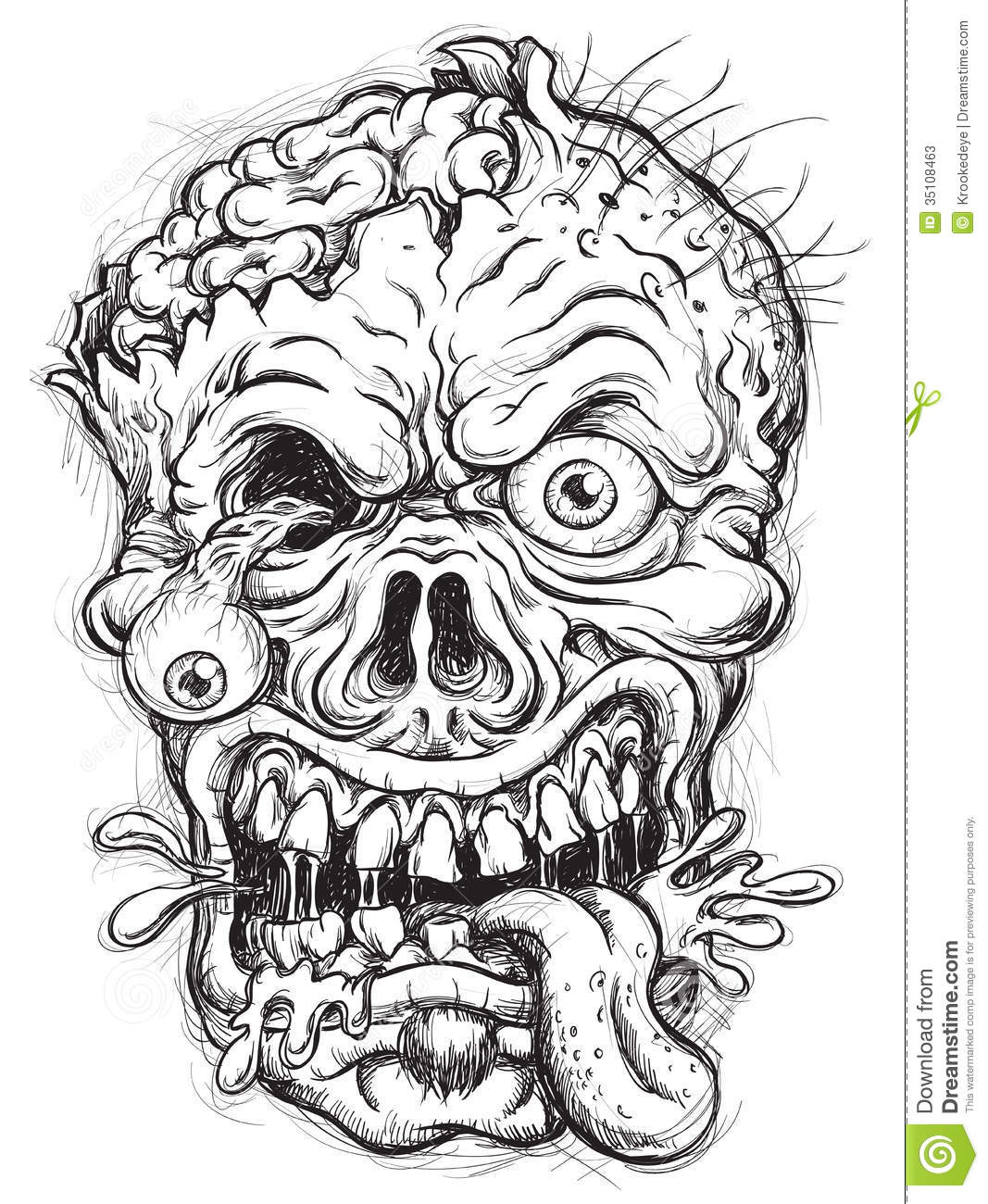 Zombie Face Line Drawing : Sketchy zombie head stock vector illustration of cheeks