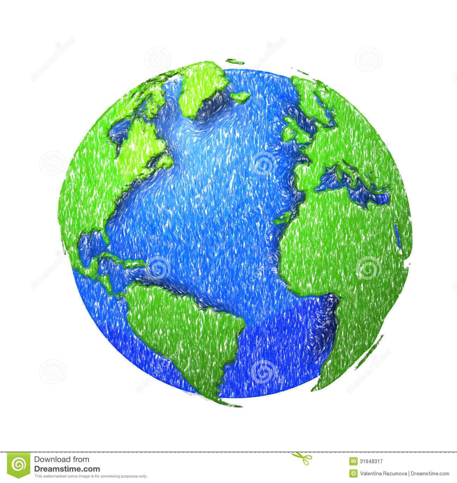 Globe of the world eps10 vector illustrationpencil sketch