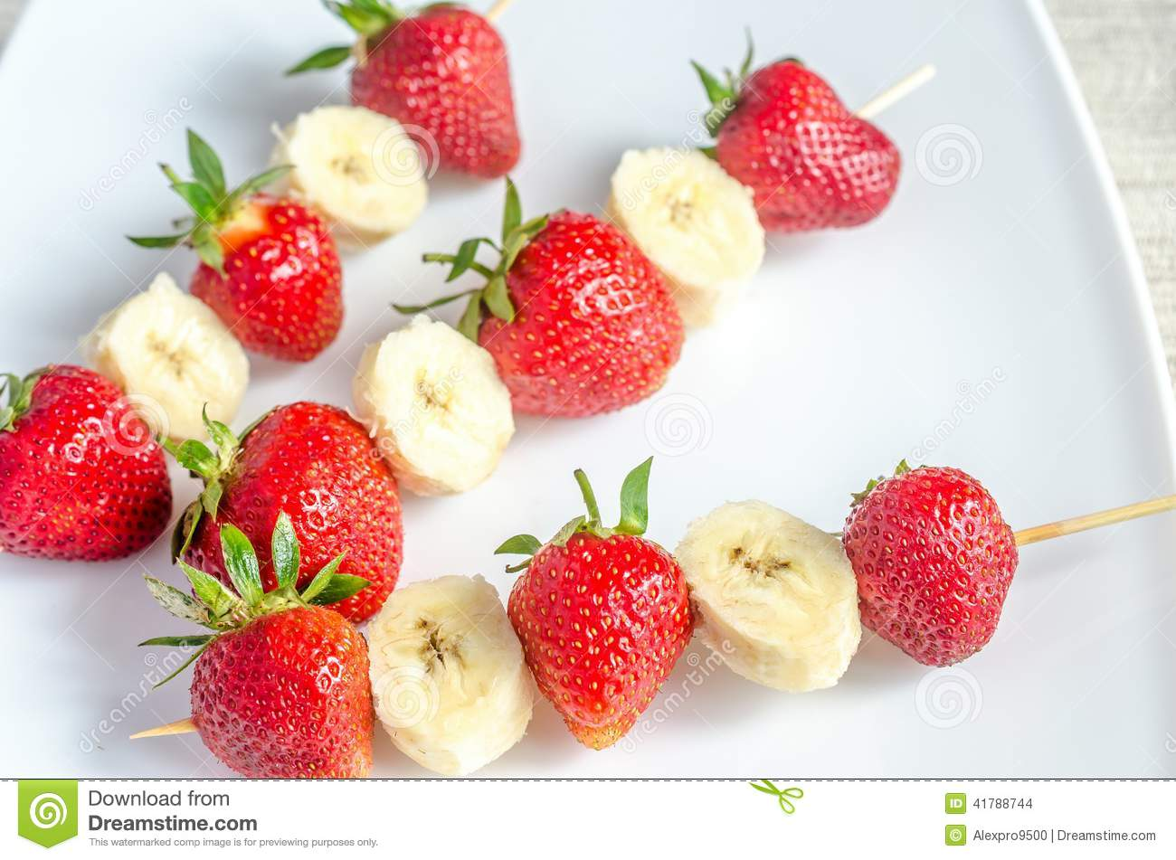 Skewers with strawberries and banana stock photo image - Comment couper les legumes en julienne ...