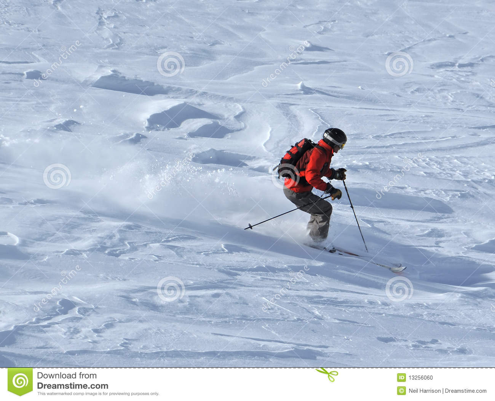 Skiër in poedersneeuw