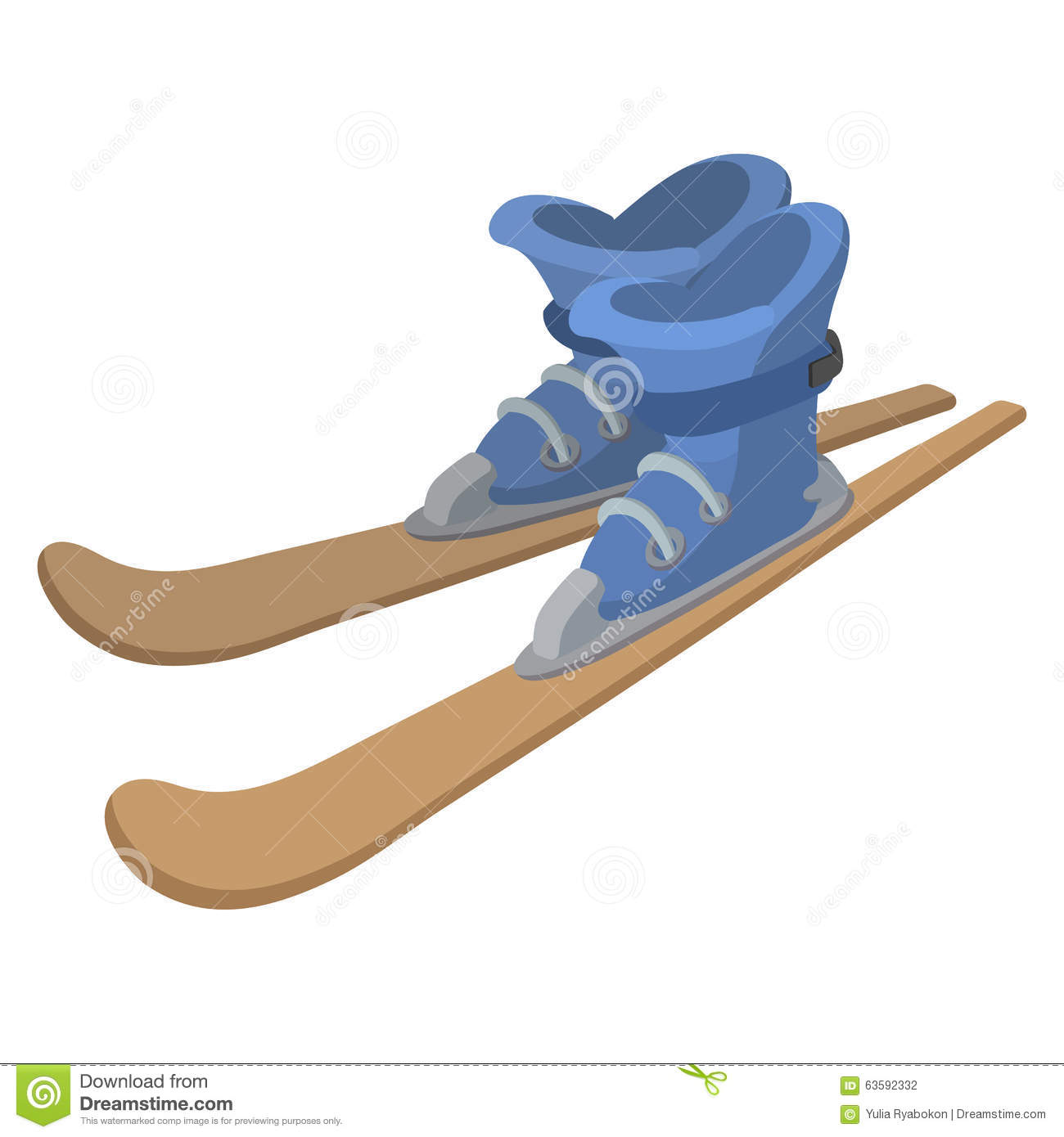 Ski Boots And Skis Cartoon Illustration Stock Vector And Boots Coloring Page