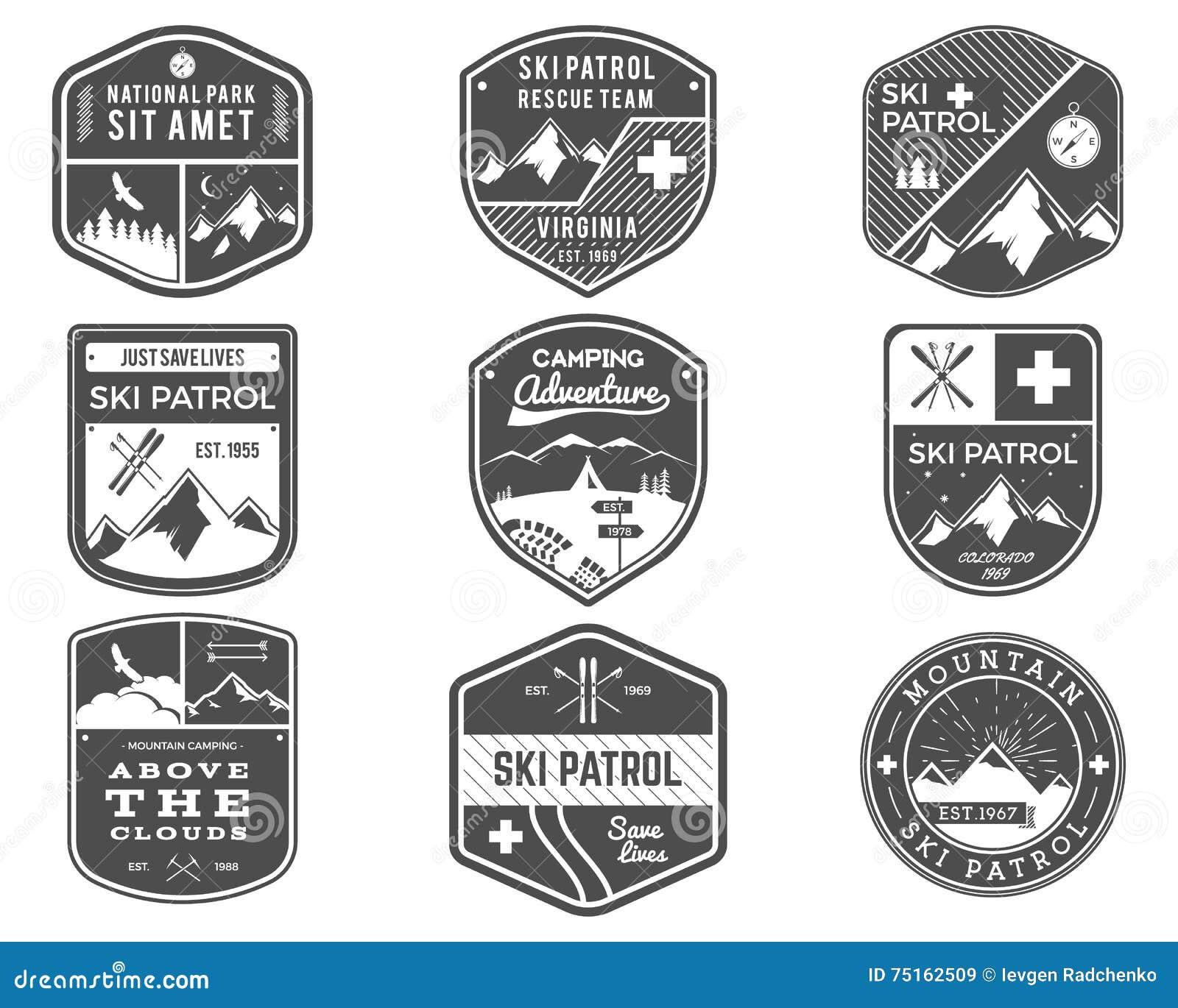 Ski Club, Patrouille, de Inzameling van Kampeerterreinetiketten Uitstekende Berg, embleem van het de kentekens het Openluchtavont