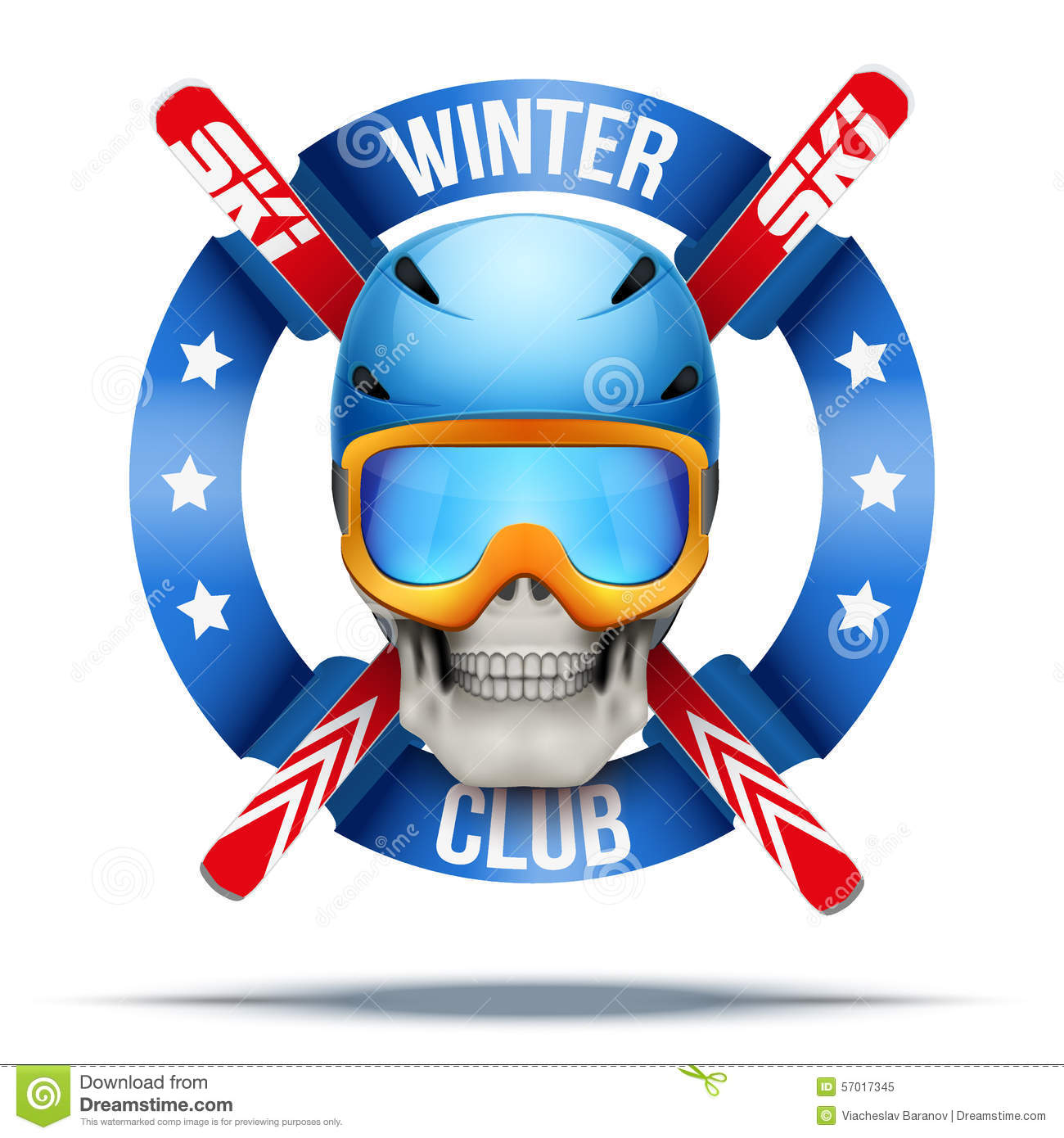 Ski club or team. Skull with crown and golf clubs. Vector Illustration ...