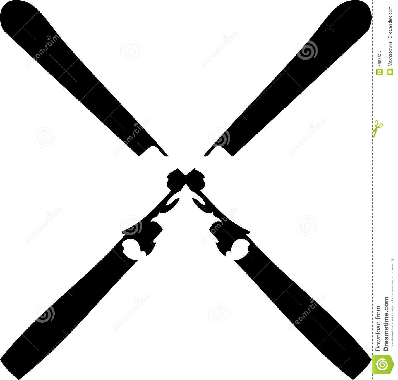 Ski Crossed Royalty Free Stock Photography - Image: 6886627