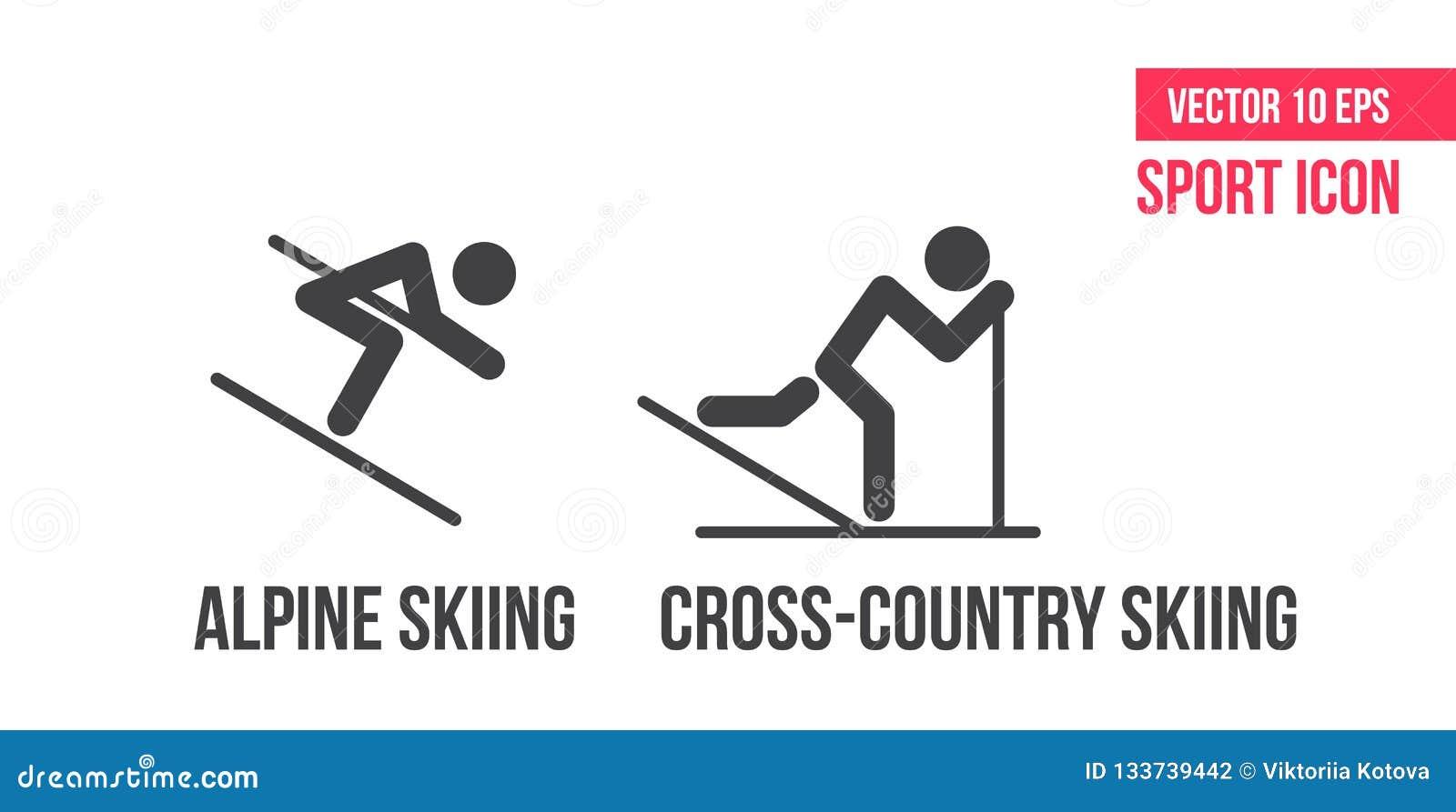 Ski de fond, icône nordique de combinedsign d und de ski alpin, logo Placez de la ligne icônes, pictogramme de vecteur de sport d