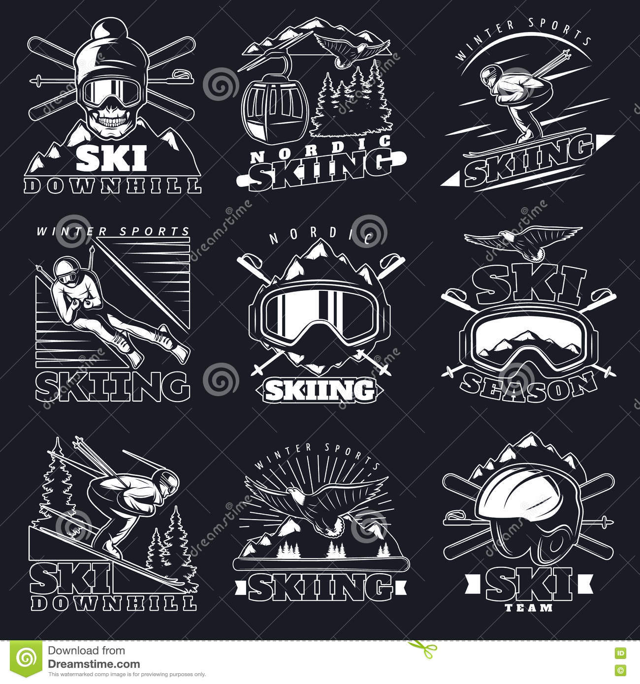 Ski Downhill Emblems Set