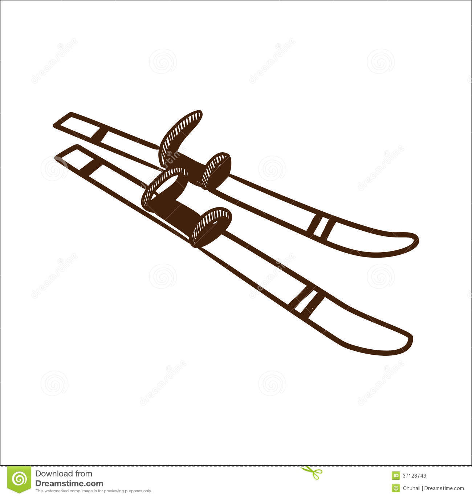 Vintage ski equipment cartoon sketch vector illustration