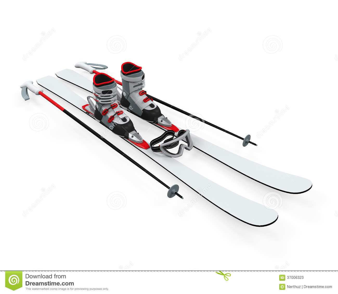 Ski Equipment on white background. 3D render.