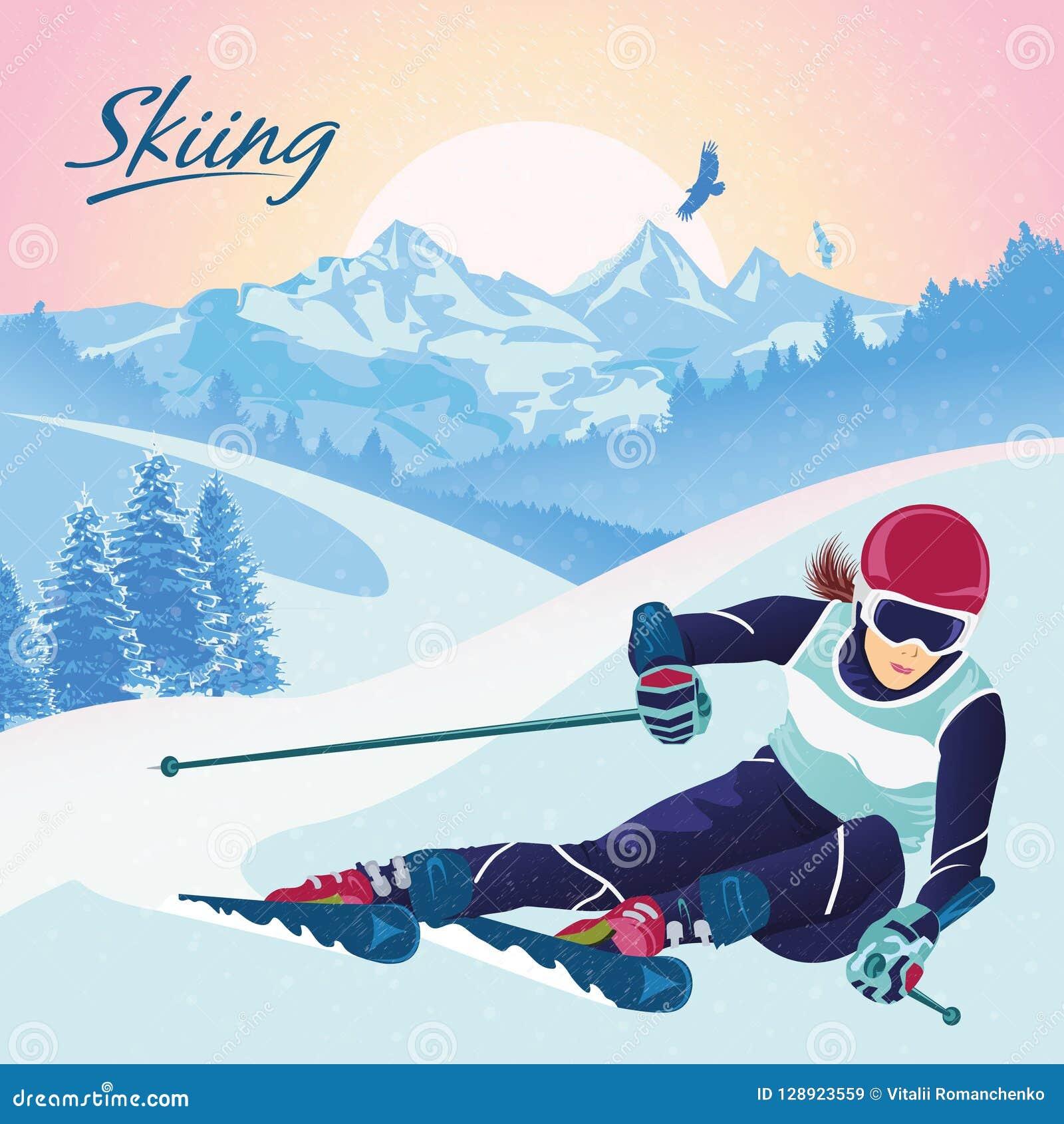 Ski fahren in den Bergen Vector Illustration, die Erholung, Sport, Tourismus und Reise fördert