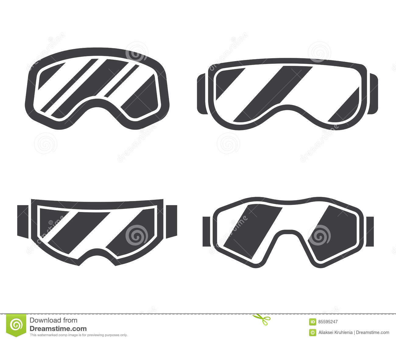 bb8e48fed7fb Snowboard or ski goggles silhouette collection in flat design. Skiing or  snowboarding face protection glasses outline vector icon. Winter sport  goggle set ...