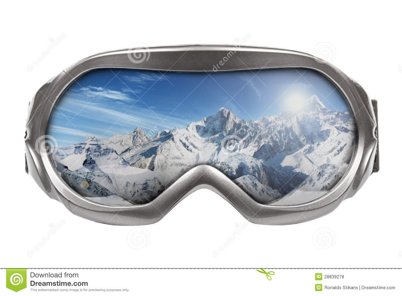 Ski Goggles With Reflection Of Mountains Royalty Free Stock Photos ...