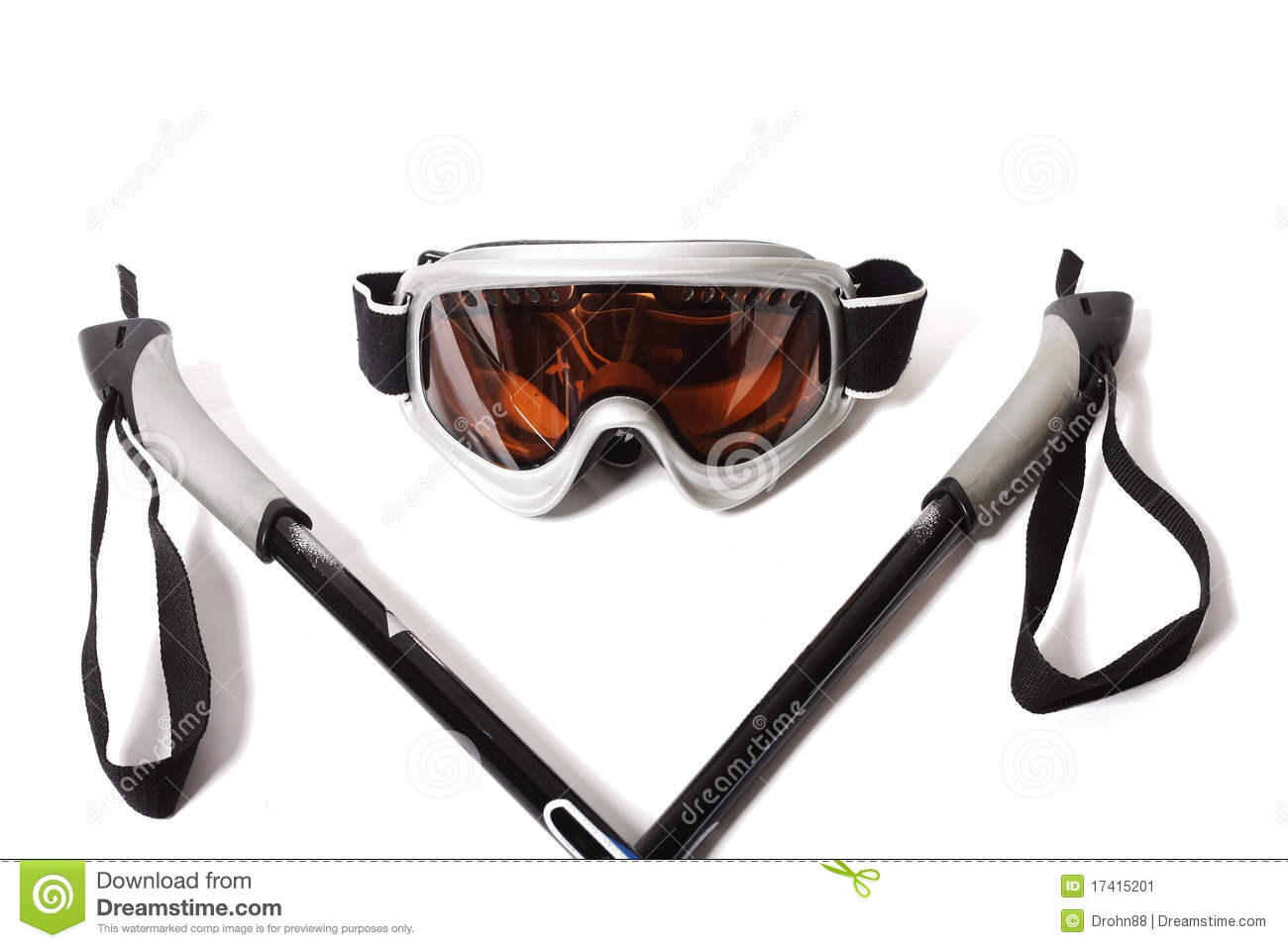 Ski Goggles And Stick On White Background Stock Image - Image ...