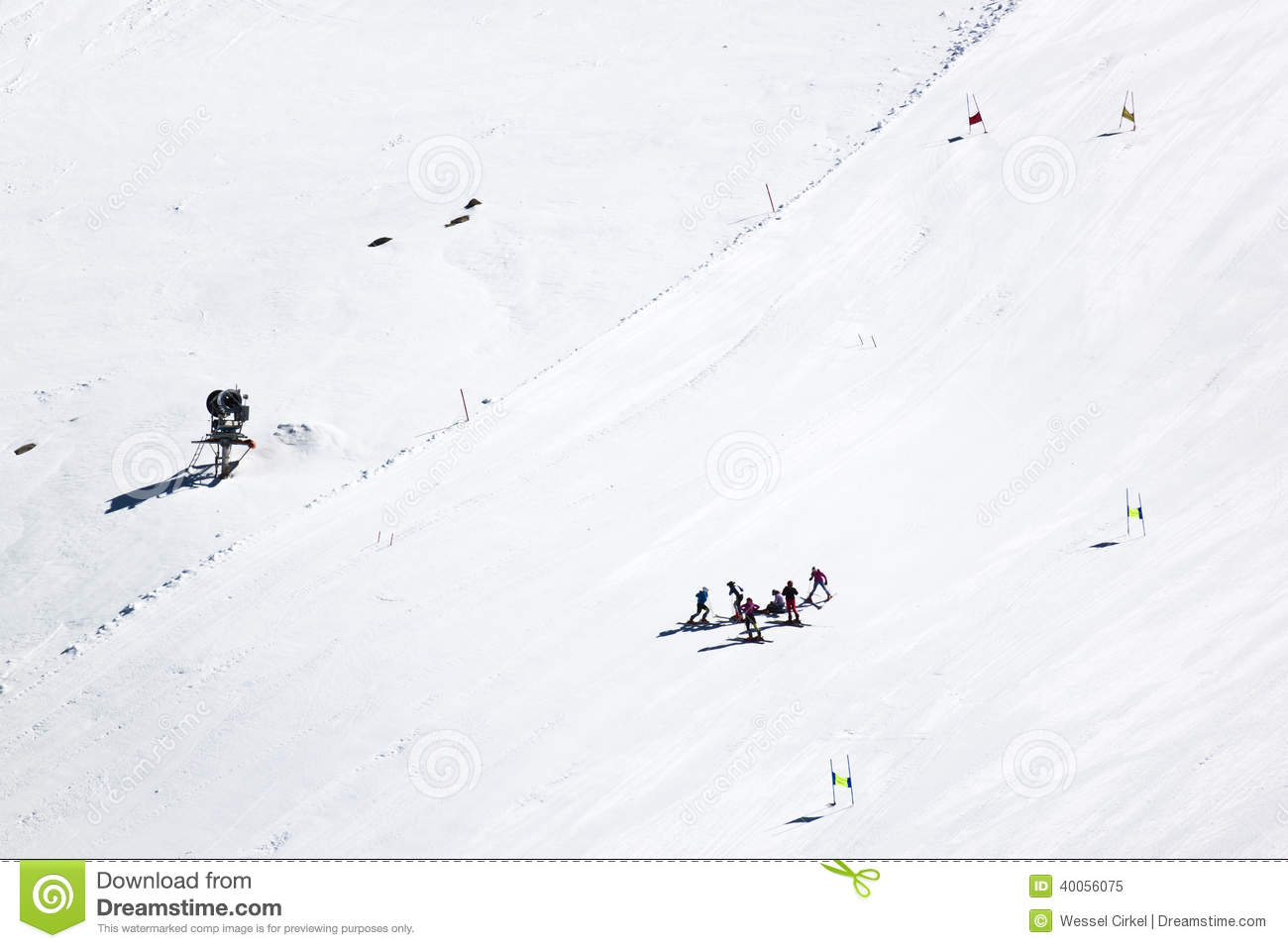 Ski instruction, molltaler glacier, austria editorial image.