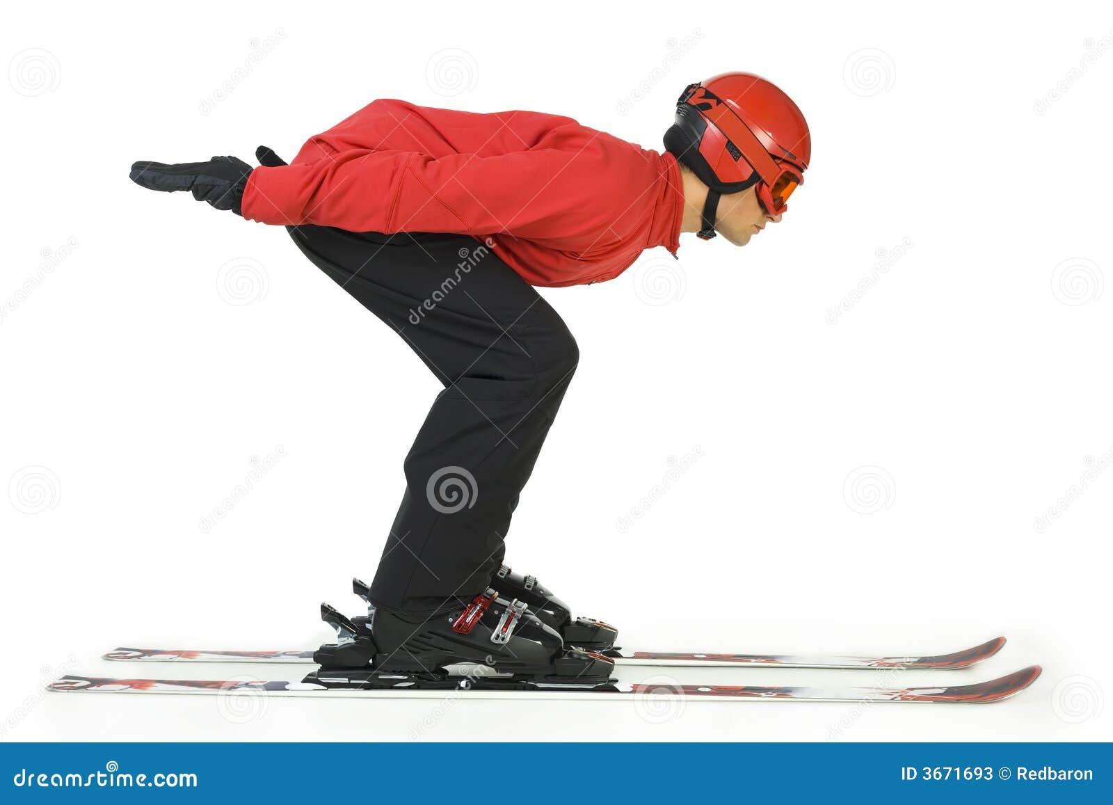 Ski jumper begins his jump