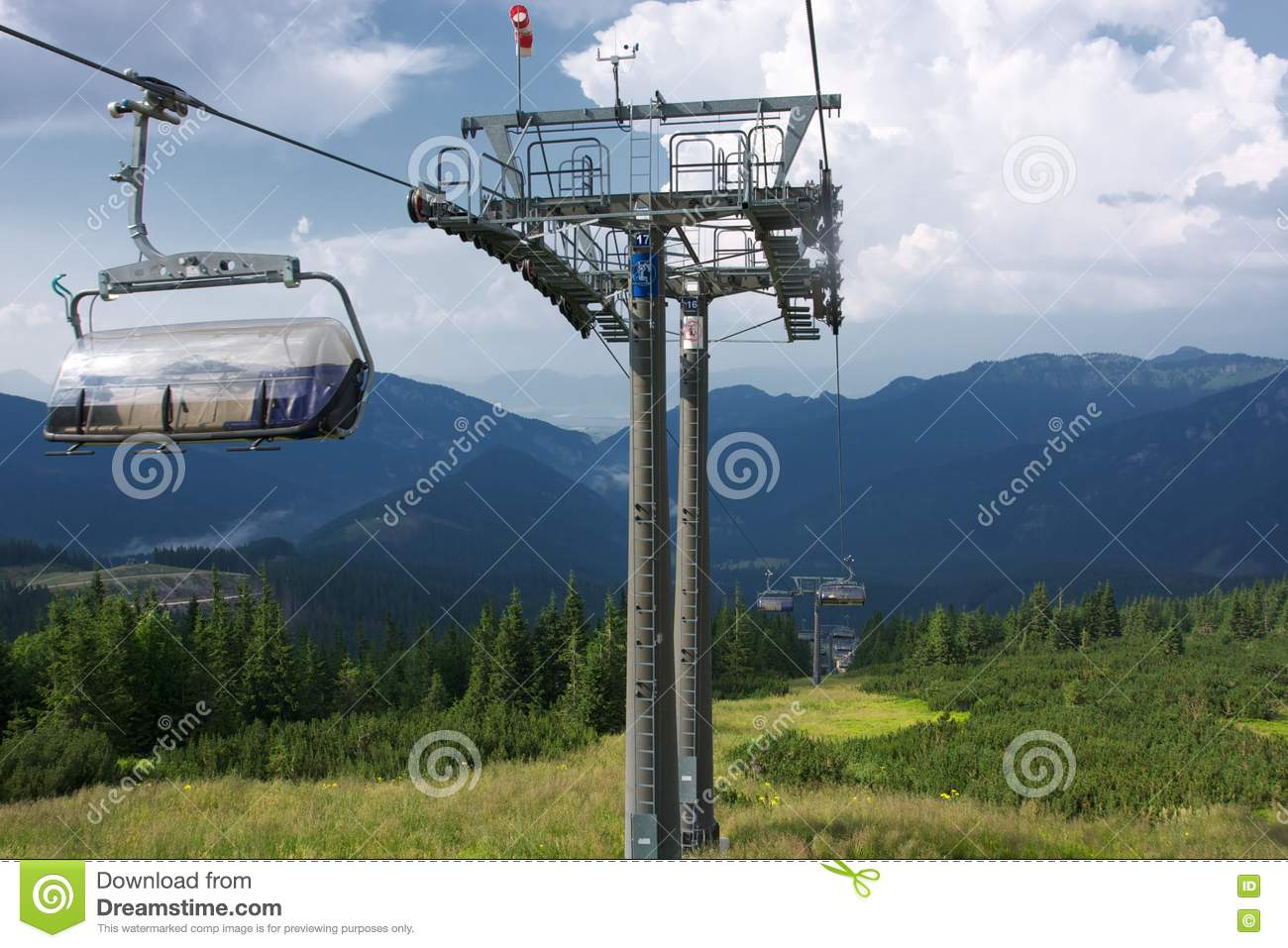 Ski lift chair at jasna low tatras slovakia during summer months