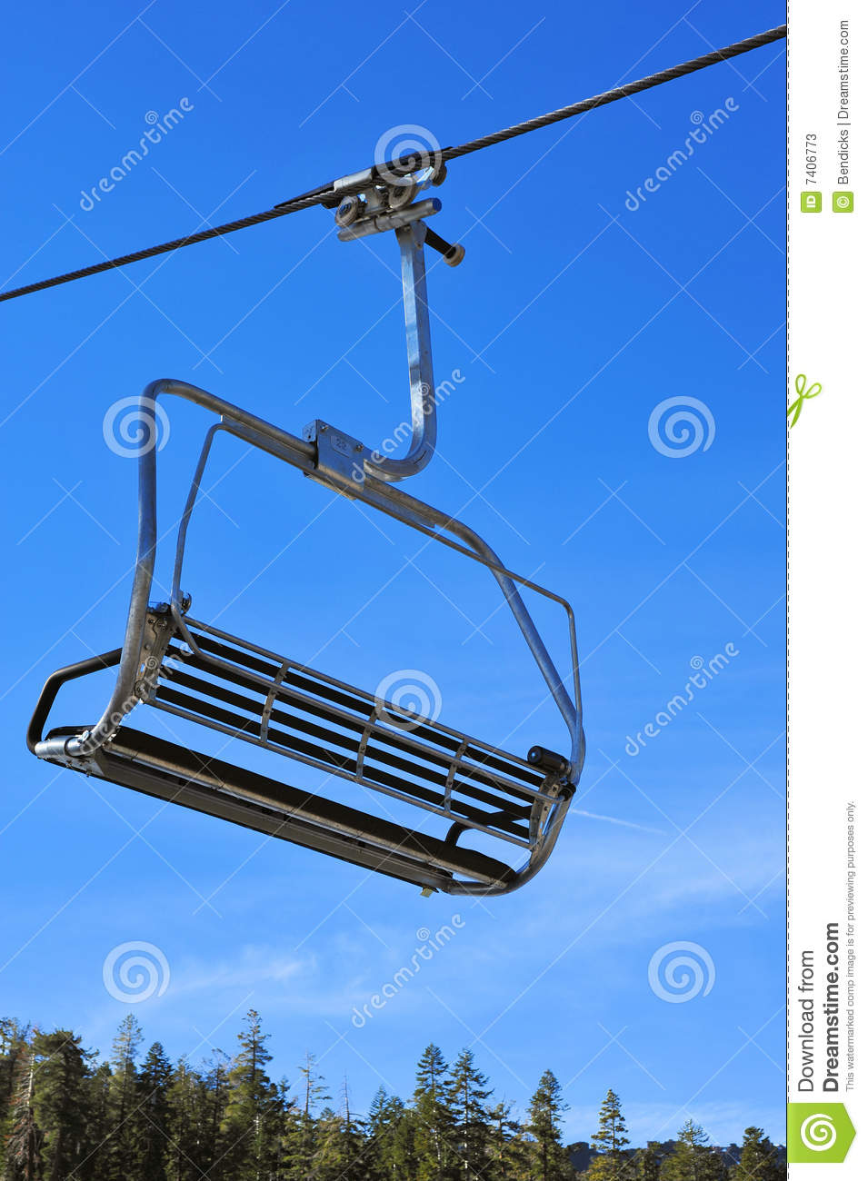 Closeup of a ski lift chair before the skiers arrive