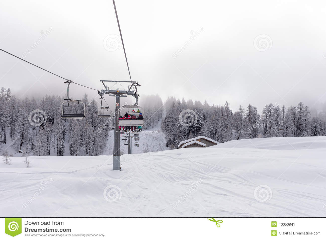 Ski Lift With Passengers In The Chair Stock Photo Image 40050841