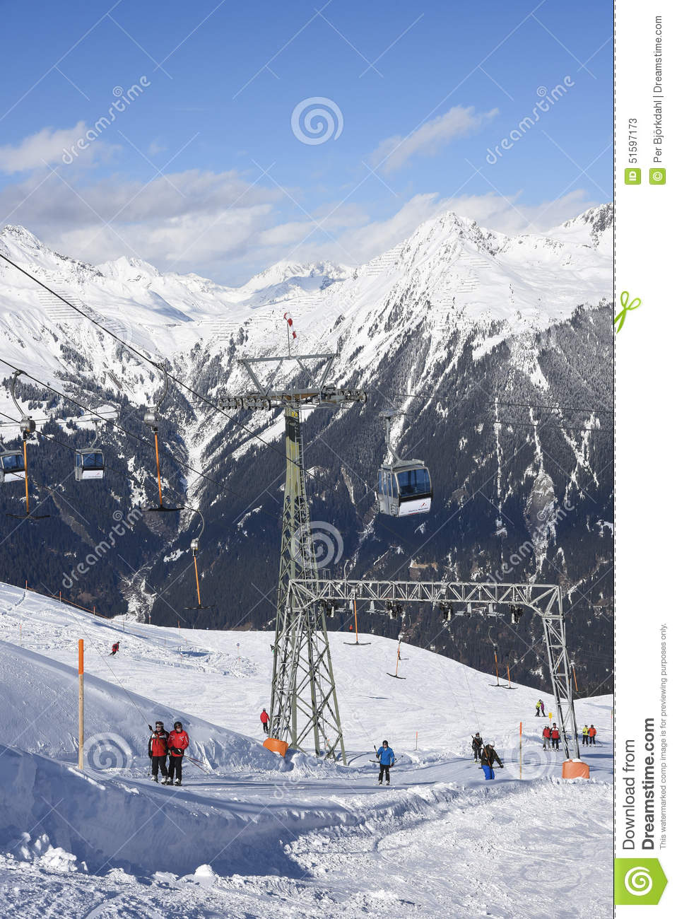 ski lifts in gaschurn editorial stock photo. image of downhill