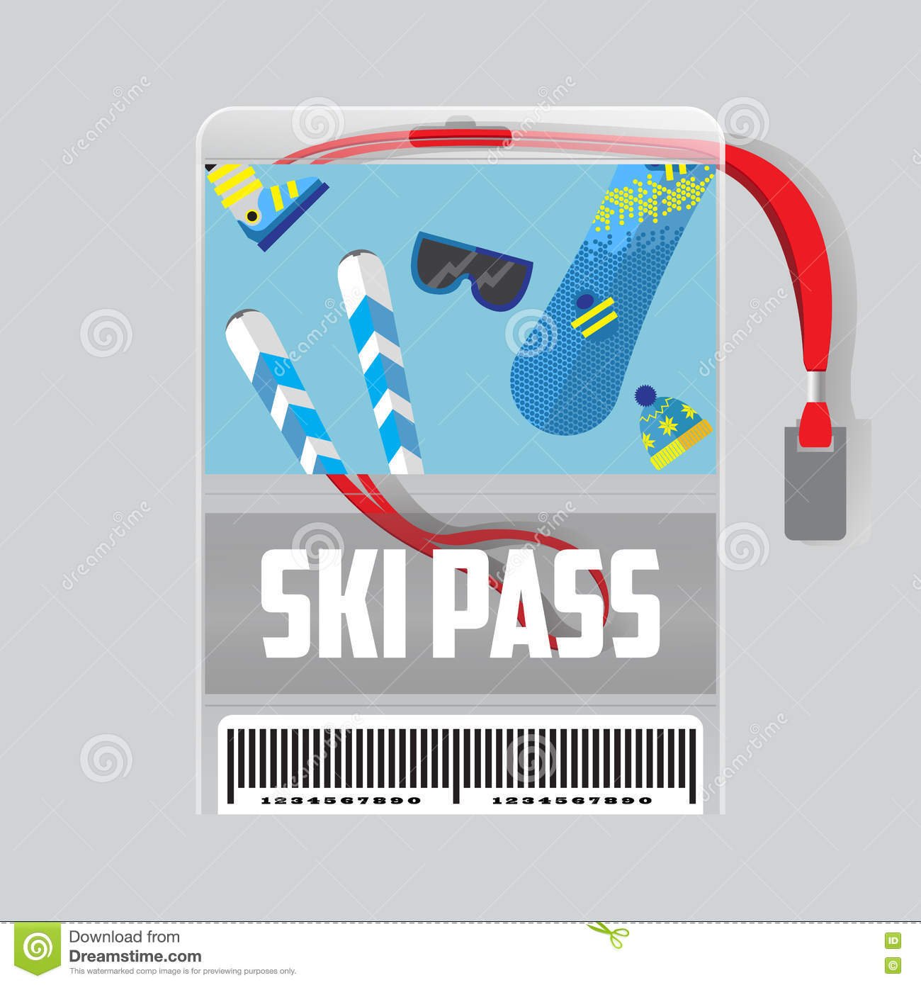 Ski Pass Template With Barcode. Red Ribbon .equipment for winter holidays.Flat Design