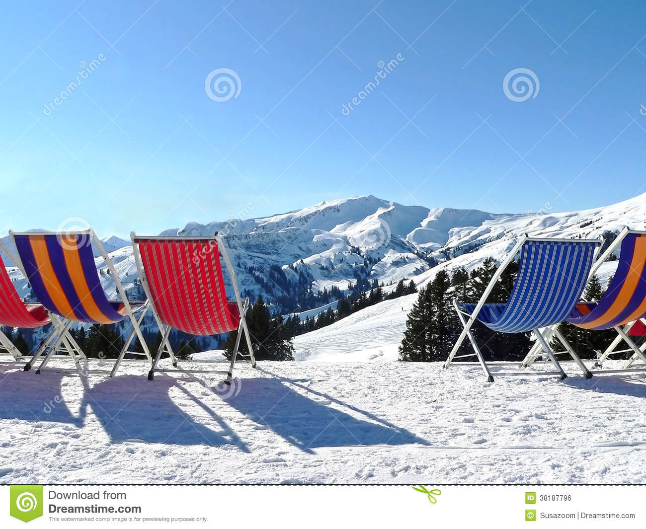 Download After Ski Relaxation Sunbeds In Winter Mountain Scenery Stock Photo - Image of sunbeds, relax: 38187796
