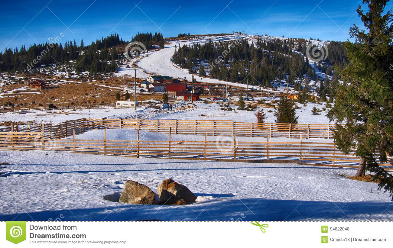 ski resort in beautiful mountain landscape stock photo - image of