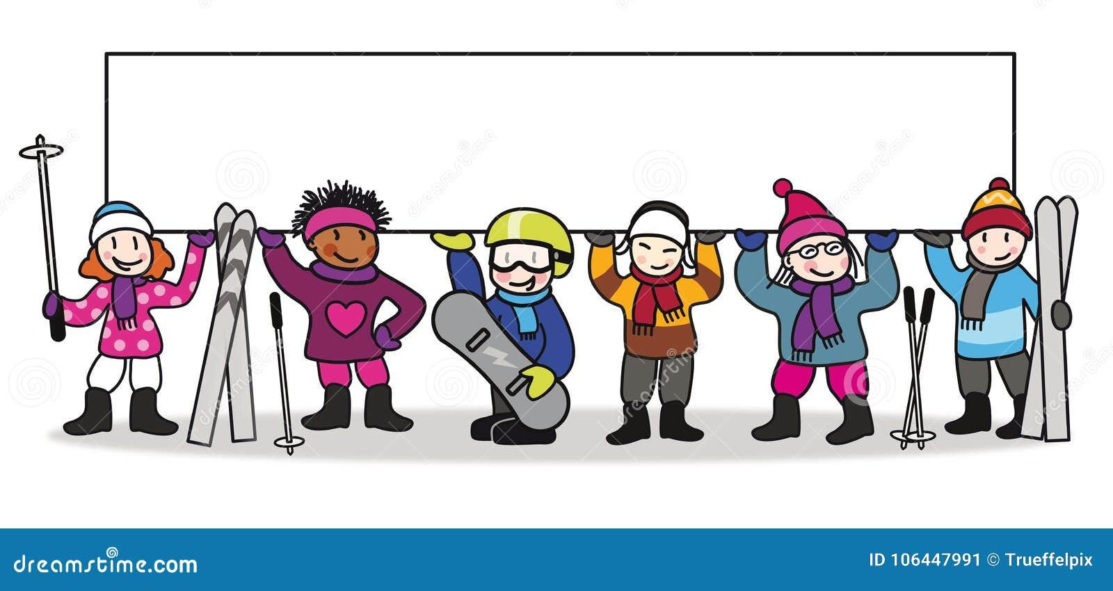 Ski resort colorful illustration with children