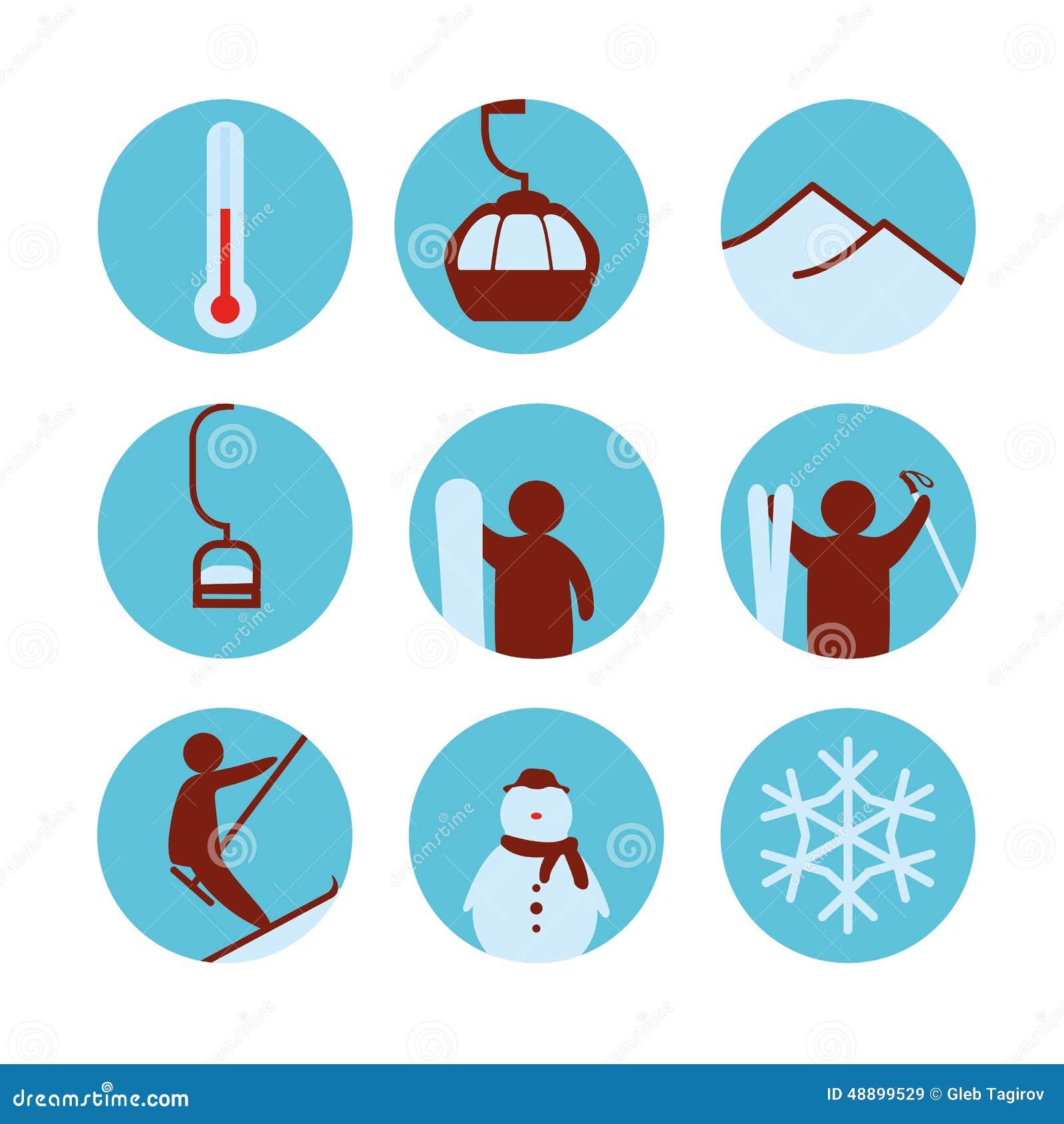 Winter icon, ski, snowman. EPS10 vector format.