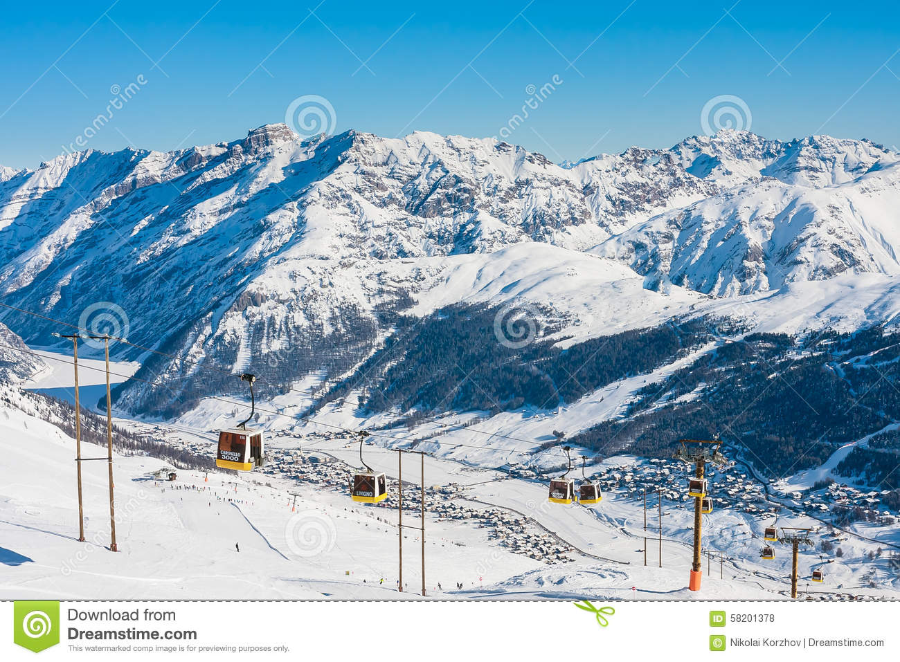 Ski resort Livigno. Italy editorial stock photo. Image of cable ...