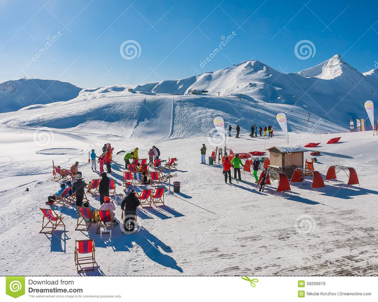 Ski resort Livigno. Italy editorial stock image. Image of road ...